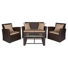 Roycroft 4 Piece Seating Group in Chocolate with Beige Cushions