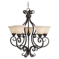 Piacenza 5 Light Chandelier in Bronze