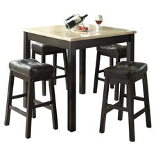 5 Piece Counter Height Dining Set in Cappuccino