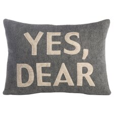 Yes, Dear Lumbar Pillow in Grey & Oatmeal