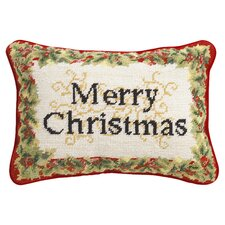 Embroidered Merry Christmas Pillow in Beige