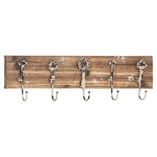 Wood and Metal Wall Hook in Brown