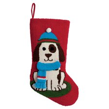 3D Dog Hooked Stocking in Red