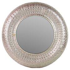 Round Metal Framed Mirror in Silver