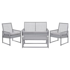 Ames 4 Piece Seating Group in Grey with Grey Cushions