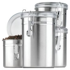 4 Piece Storage Canister Set in Stainless Steel