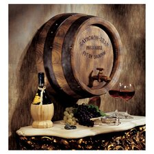 French Wine Barrel Wall Sculpture in Brown