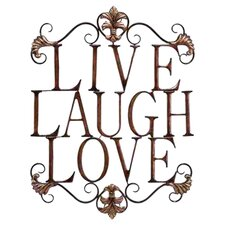 Urban Trends Live, Laugh, Love Wall Sign in Bronze