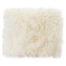 Lamb Fur Throw Pillow in Cream