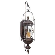 Fleur De Lis Candle Lantern Metal Wall Sconce in Antique Brown