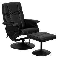 Dayton Heated Massage Recliner & Ottoman Set in Black