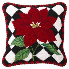 Poinsettia Diamonds Pillow in Red & Black