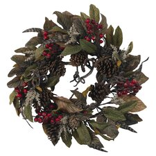 Pinecone, Berry & Feather Wreath