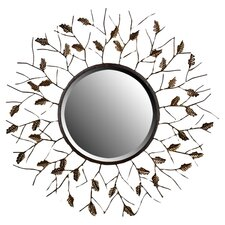 Branch and Leaf Design Round Wall Mirror in Brown