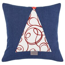 Denim Joker Scarlet Tree Pillow in Blue