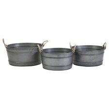 3 Piece Bayou Galvanized Tub Set in Silver