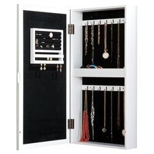Britlee Wall Mount Mirrored Jewelry Armoire in White