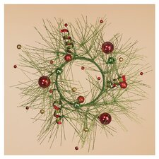 "18"" Glitter Pine Ball Wreath"