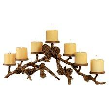 Pinecone Mantelpiece Aluminum Candelabra in Brass