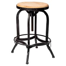Adjustable Barstool in Weathered Oak