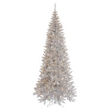 "5'6"" Pre-Lit Slim Fir Artificial Tree in Silver"