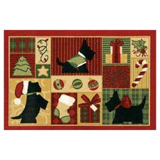 "Home for the Holidays 2'7"" x 3'10"" Scotties Novelty Rug"