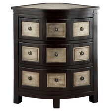 Cosmopolitan Corner 3 Drawer Chest in Black & Silver Leaf