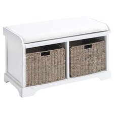 Wood Storage Bench in White