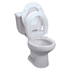 Elongated Hinged Raised Toilet Seat in White