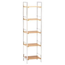 Bamboo Slatted Bookshelf in Chrome