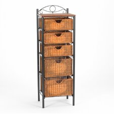 Utah Wicker Storage Unit in Black & Natural