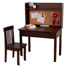 Pinboard Writing Desk, Hutch, & Chair in Brown