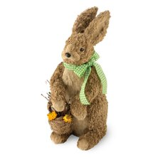 Natural Bunny Figurine with Basket