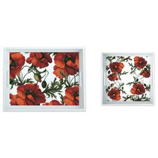 2 Piece Papaver 100% Pure Melamine Serving Trays Set