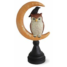 Halloween Accent Owl and Raven on Moon Figurine