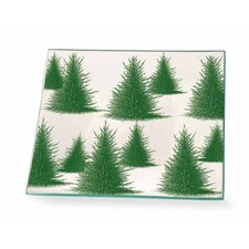 "Conifers 6"" Square Glass Plate (Set of 2)"