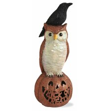 Halloween Accent Owl and Raven on LED Pumpkin Figurine