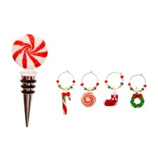 Glass Christmas Icons Stopper and Wine Charms Set