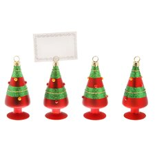 Striped Trees Ornament and Place Card Holder (Set of 4)
