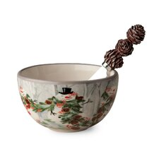 Forest Snowmen Ceramic Bowl and Spreader Set