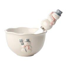 Snowman Ceramic Bowl and Spreader Set