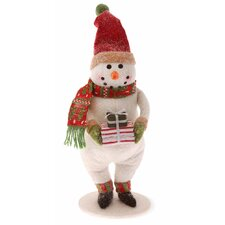 "13.5"" Snowman with Striped Gift Holiday Accent"