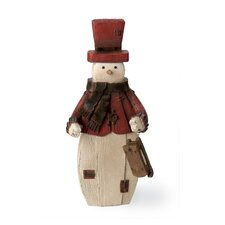 "12.5"" Rustic Snowman Holding Sled Holiday Accent"