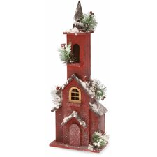 Tall Snowy Wood House Holiday Accent