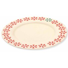"Holiday 10.5"" Peppermints Stoneware Plate"