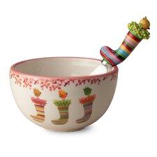 Little Christmas Ceramic Bowl and Spreader Set