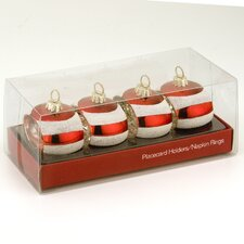 Striped Ornament and Napkin Holder (Set of 4)