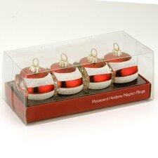 Striped Ornament and Napkin Holder (Set of 4)