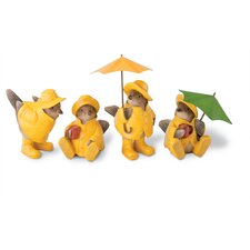 4 Piece Rainy Day Cheeky Chicks Figurine Set