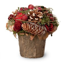 Rose and Pinecone Pot Holiday Accent